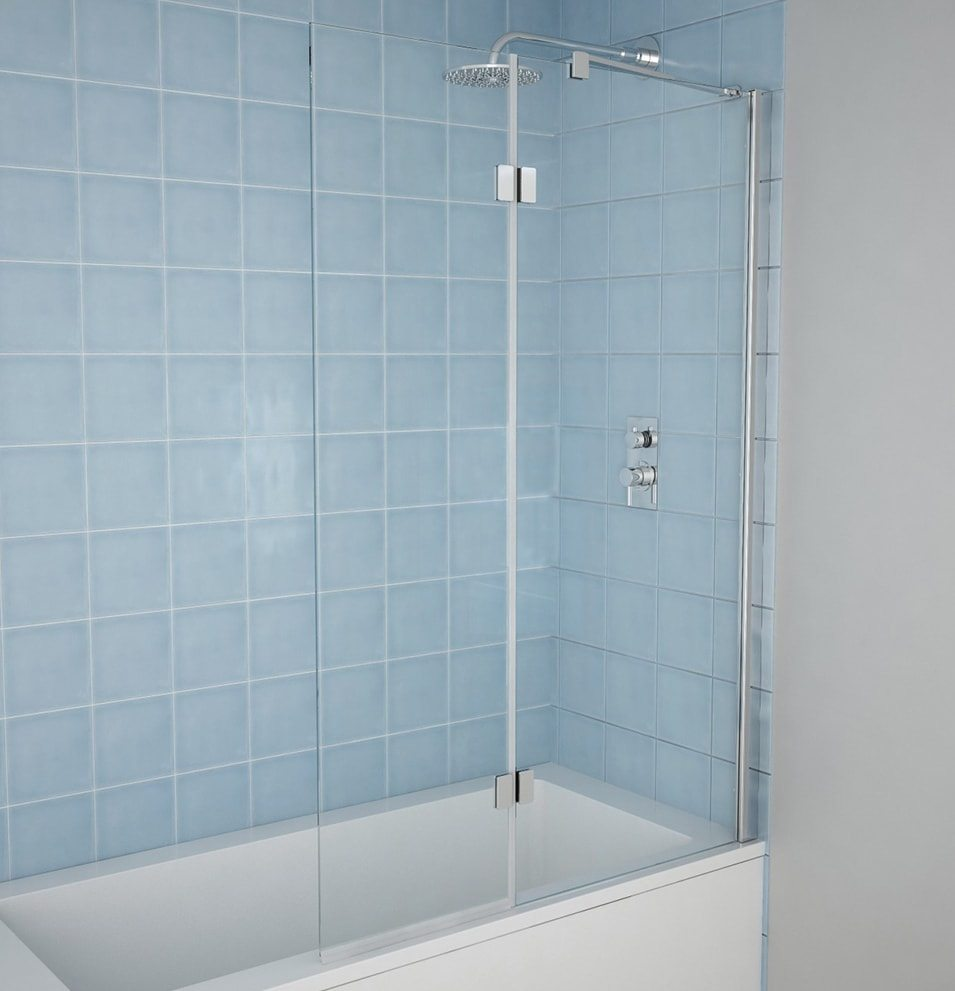 6mm Straight Shower Bath Screen Two Panel Hinged - MLH Products